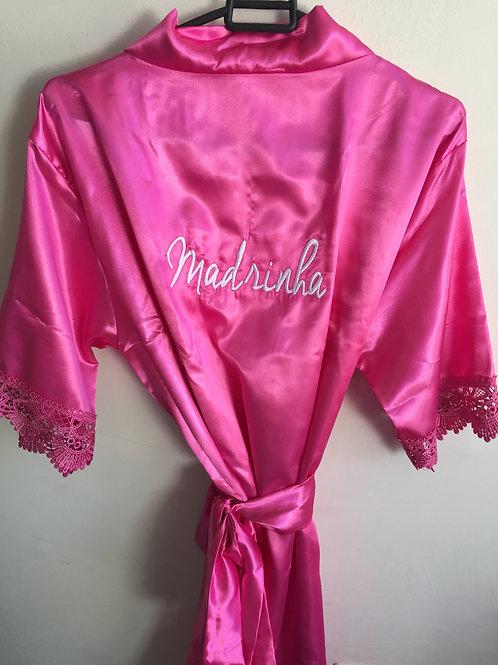 Robe rosa com manga de guipir