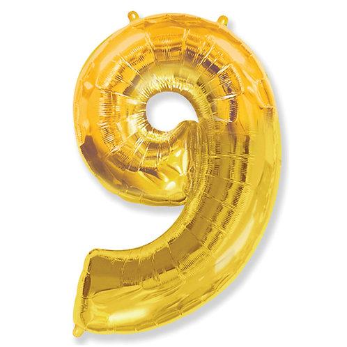 """Balão 40"""" metalizado número 9 dourado"""