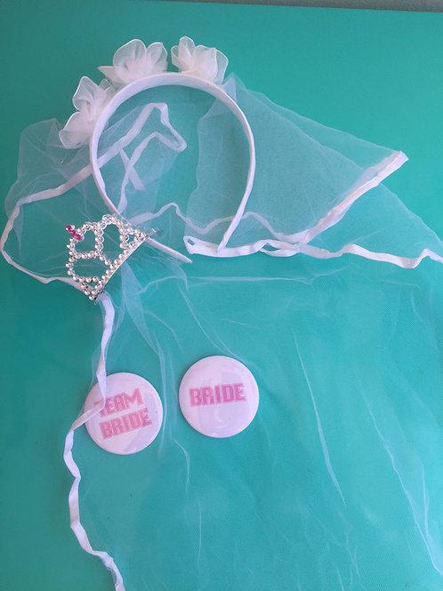 1 véu + 9 broches Team Bride + 1 broche Bride + 9 coroinhas