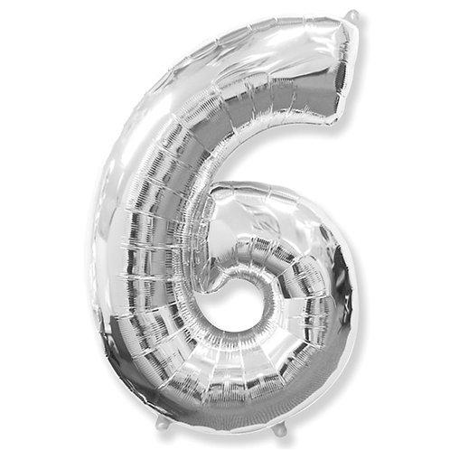"""Balão 40"""" metalizado número 6"""