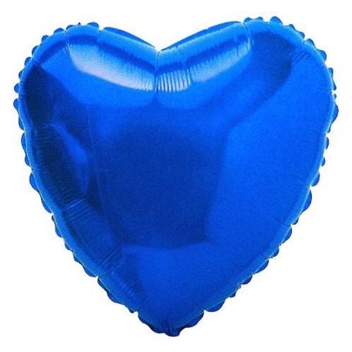"""2 balões 18"""" Metalizado de Coração Azul liso"""