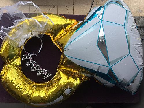 1 véu + 5 coroinhas + 1 balão aliança