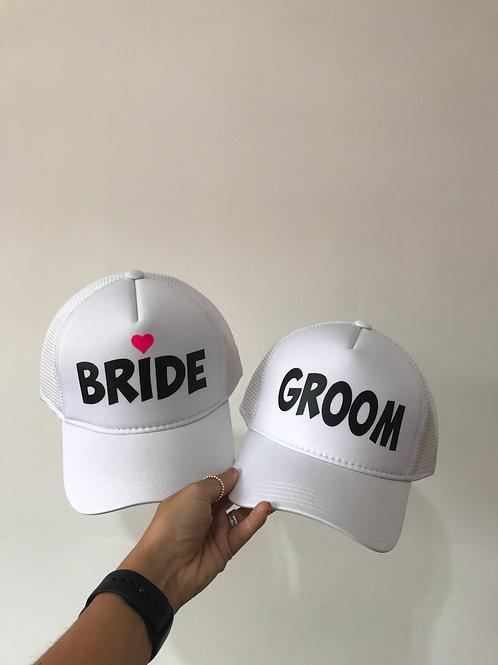 2 Bonés - Noiva e Noivo