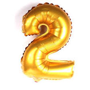"""Balão 40"""" metalizado número 2 dourado"""