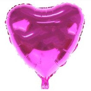"""2 balões de 18"""" Metalizado de Coração rosa liso"""