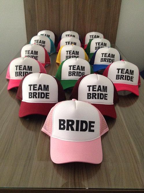 Kit: 21 Bonés coloridos Team Bride + Bride