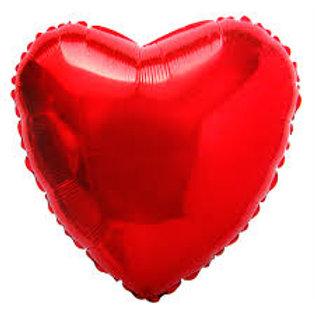 """2 balões de 18"""" Metalizado de Coração Vermelho liso"""