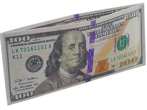 Carteira Slim Dinheiro Nota de 100 Dólares
