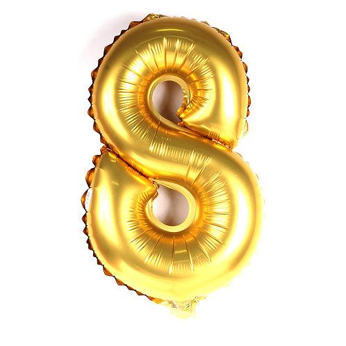 """Balão 40"""" metalizado número 8 dourado"""