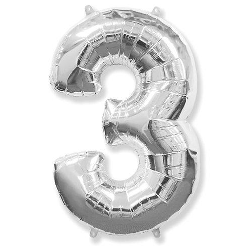 """Balão 40"""" metalizado número 3"""