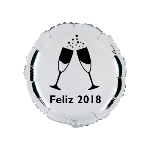 4 balões personalizados Feliz 2018
