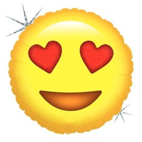 """Balão 18"""" Metalizado Emoji Apaixonado"""