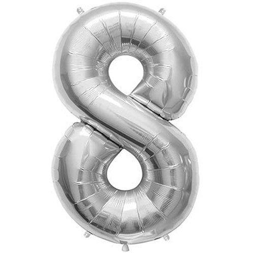 """Balão 40"""" metalizado número 8"""