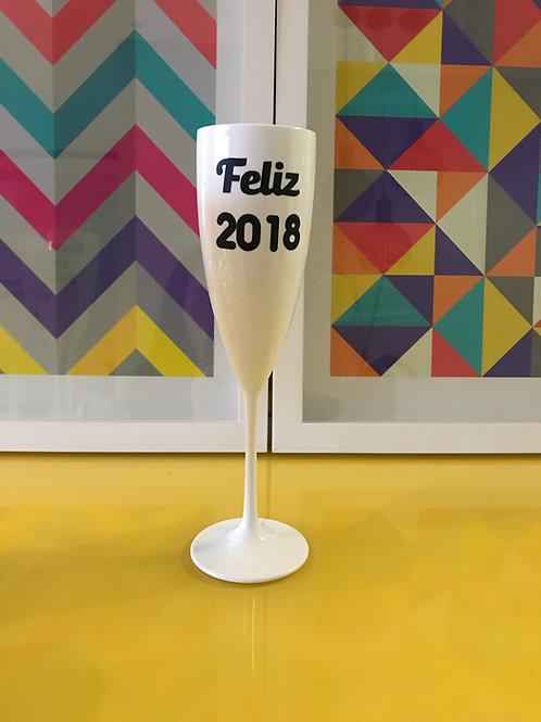 Taça de espumante Feliz 2018