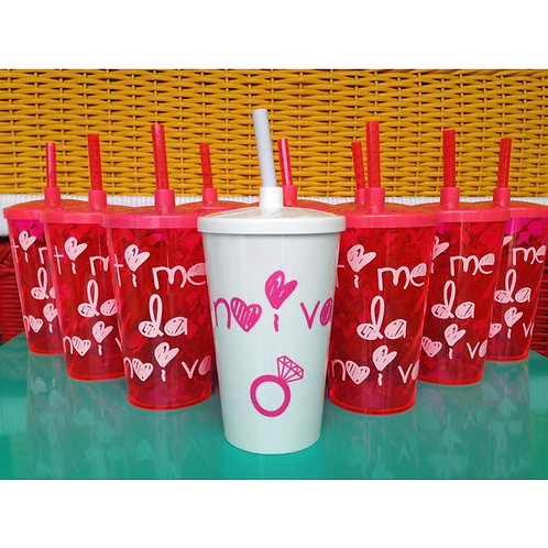 Kit 9 copos Time da Noiva + 1 copo noiva