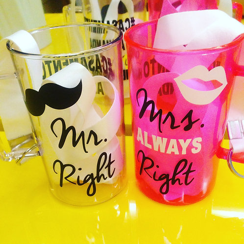 Par de canecas Mr. Right e Mrs. Always Right