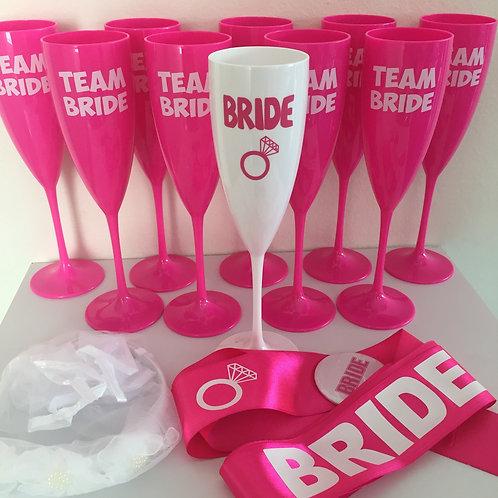 Kit 10 Taças Team Bride e Bride + 1 faixa + 1 veuzinho