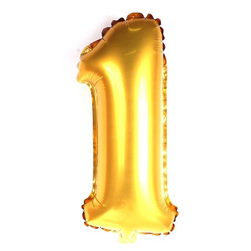 """Balão 40"""" metalizado número 1 dourado"""