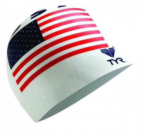TYR USA FLAG США Шапочка для плавания с флагом