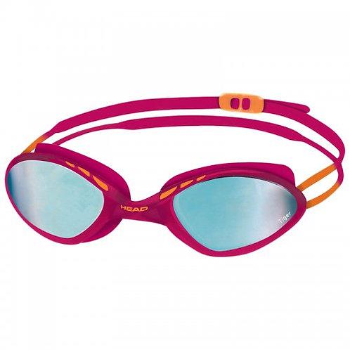Очки для плавания Head Tiger Mid Race LSR+ зеркальное покрытие (белый-дымч