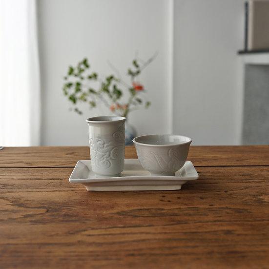 白瓷刻花聞香杯01 teacup set