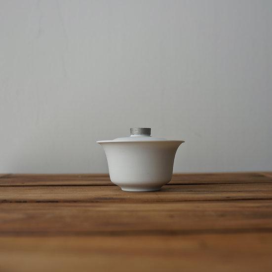 小林千恵 白磁パラジウム蓋碗04 | White porcelain gaiwan by Chie Kobayashi