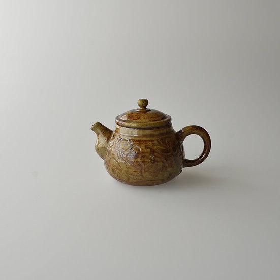 紫砂青瓷刻花紋茶壺02 teapot