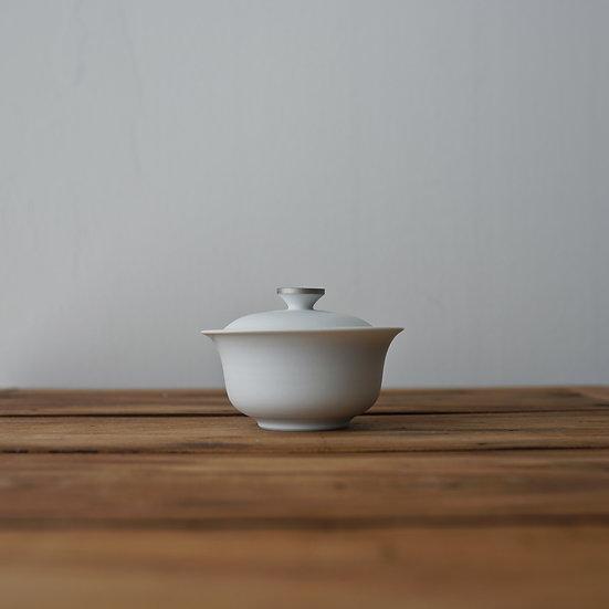 小林千恵 白磁パラジウム蓋碗05 | White porcelain gaiwan by Chie Kobayashi