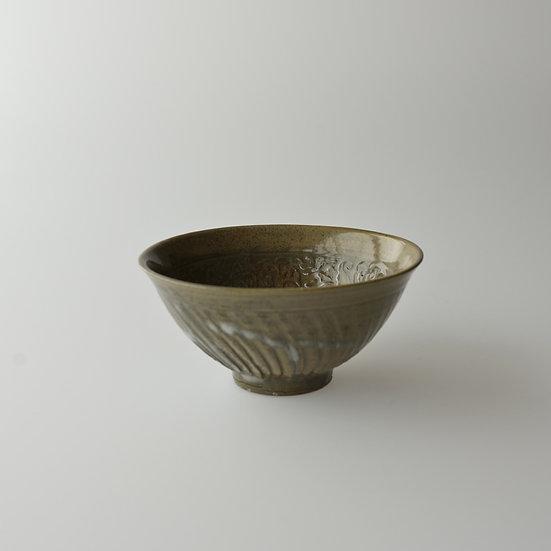 紫砂青瓷印花小服茶碗 chawan