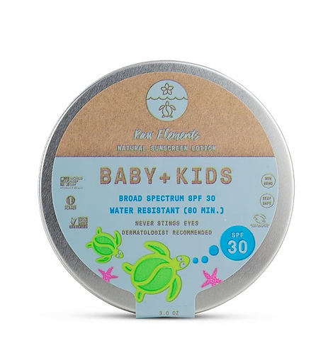 Raw Elements  BABY + KIDS 30+ TIN *Zero Waste*