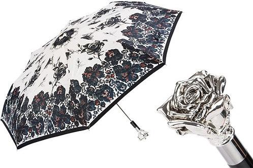 Silver Rose Folding Umbrella
