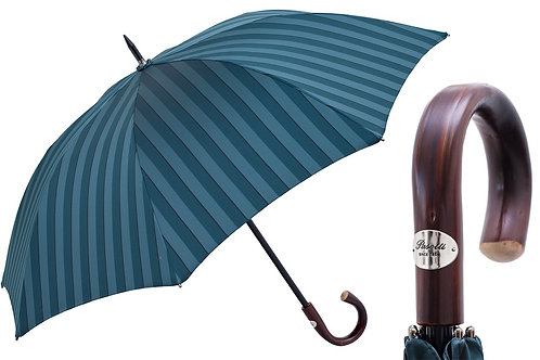 Large Striped Umbrella, Dark Chestnut Handle