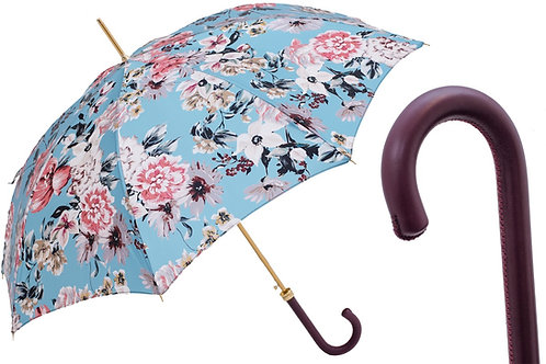 Flowered Umbrella with Burgundy Leather Handle