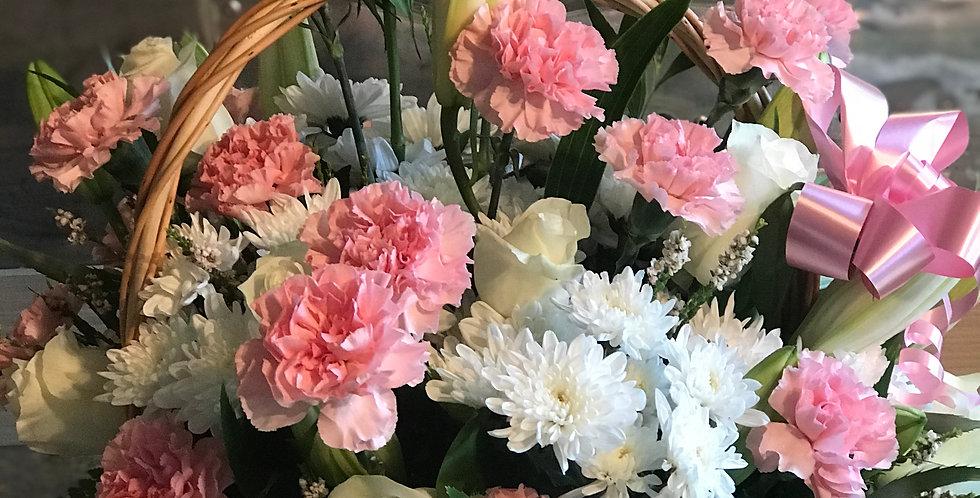 Pretty Pink Floral Basket