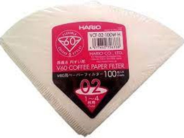 Hario Paper Filters for V60 Dripper Coffee Maker, Compatible with Size 02, White