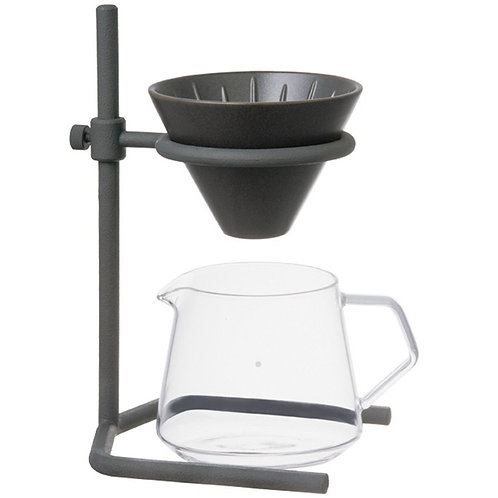 Porcelain Slow Coffee Style Speciality 2-cup dripper kit by Kinto with caraf