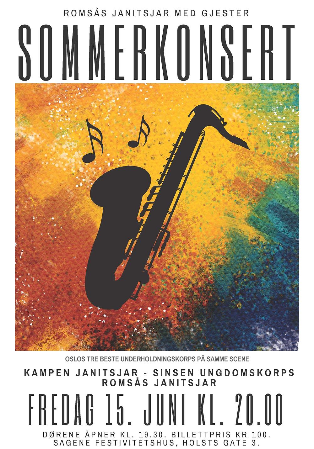 Sommerkonsert, Romsås Janitsjar, Kampen Janitsjar, Sinsen Ungdomskorps, Tarjei Grimsby