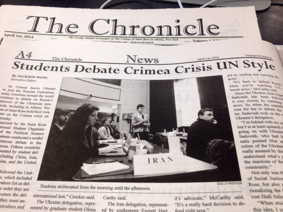 UN Model and Russian agression in Ukraine featured in students newspaper