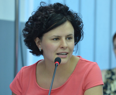 At a press-conference, advocating for internal refugees in Ukraine