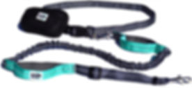 Black Rhino Hands Free Running Dog Leash Aqua