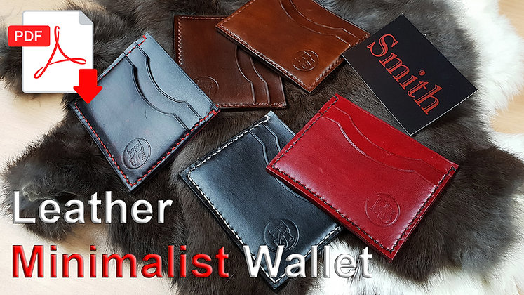 Leather Minimalist  Wallet .pdf Pattern & Tutorial Video