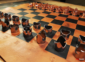 Copper, Steel & Leather Chess Set