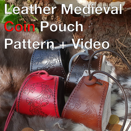 Leather Medieval Purse Pattern + Tutorial Video