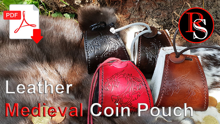 Medieval Leather Coin Pouch .pdf Pattern & Tutorial Video