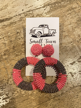 Pink/Grey Beaded Hoops
