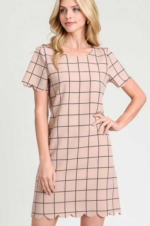 Scallop Plaid Dress