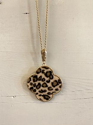 Leopard Clover Necklace/Stud Set