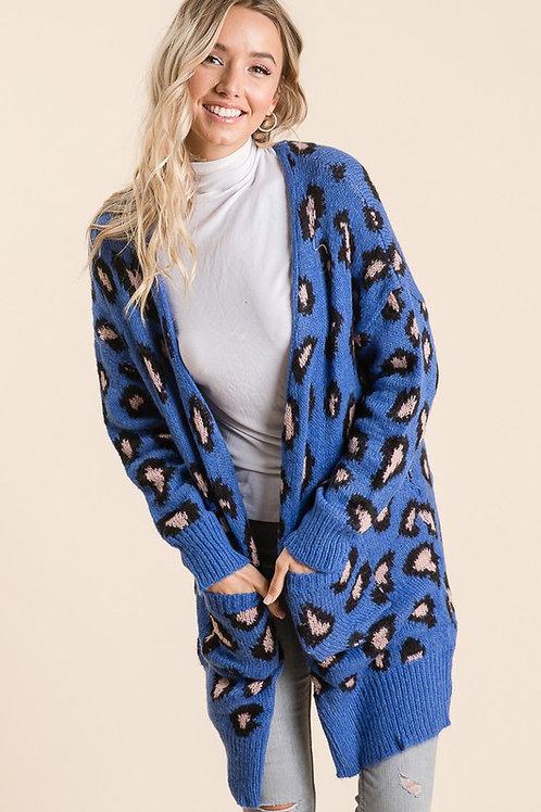 Blue/Leopard Cardigan