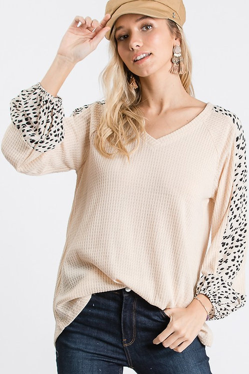 Taupe/Animal Woven Top