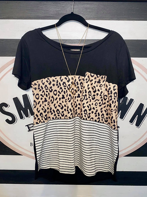 Leopard/Stripe Block Top